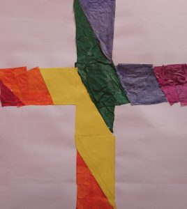 Rainbow Cross from Tissue Paper